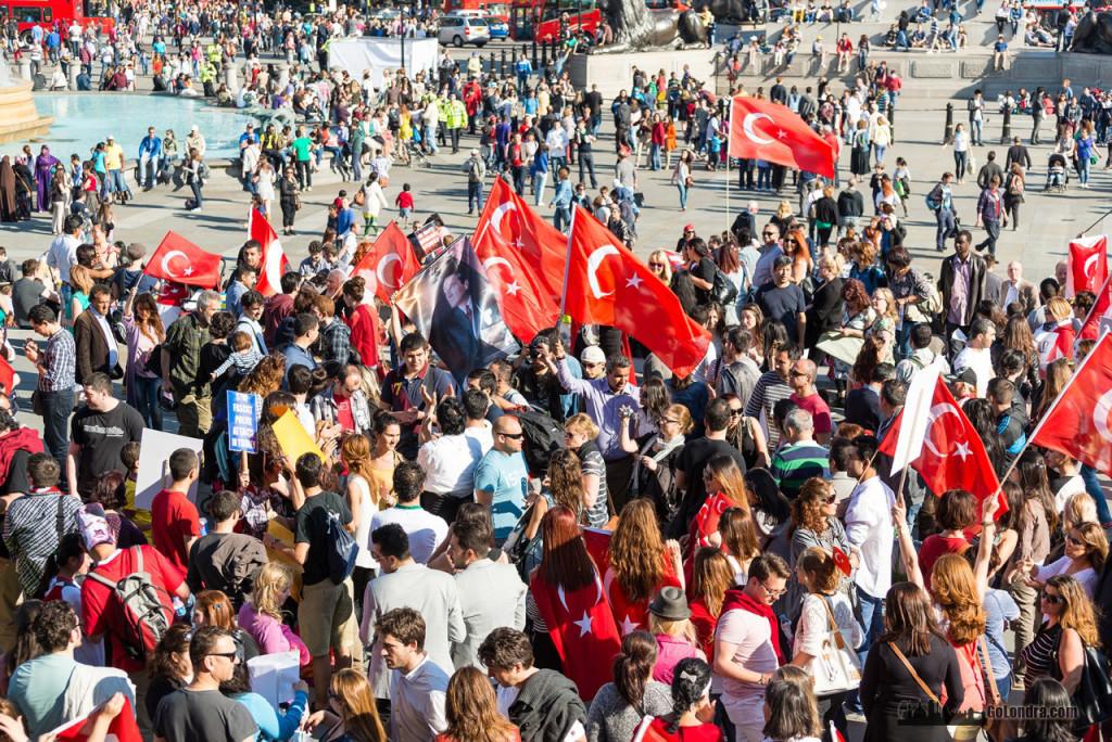 Ingiltere-Londra Protestolari - Occupygezi - Trafalgar Square (18)