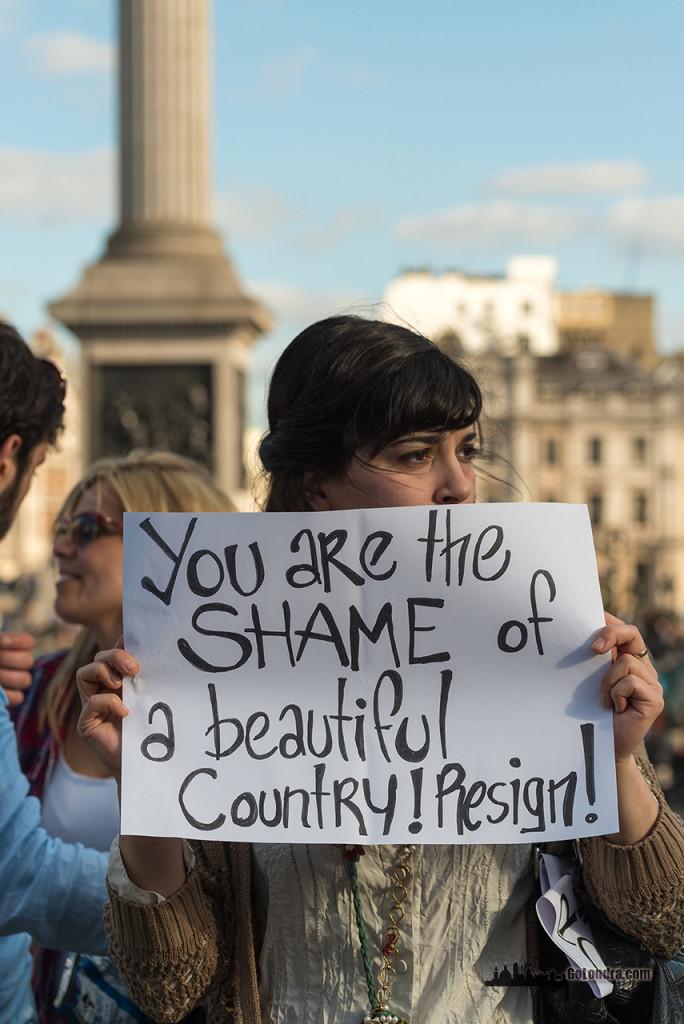 Ingiltere-Londra Protestolari - Occupygezi - Trafalgar Square (25)