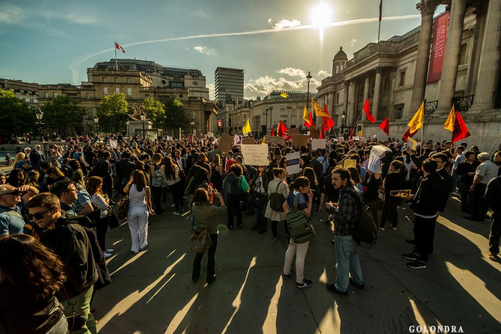 Protests in London Trafalgar Square - Occupygezi (12)